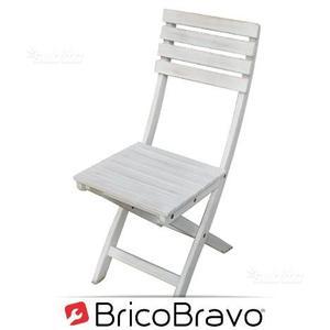 X2 sedia in legno di acacia bianco
