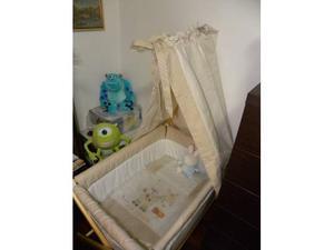 Interbaby, Culla pieghevole in legno con baldacchino, Beige