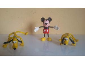 3 Personaggi pluto e topolino FLEXY della anni 70