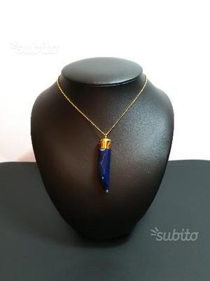 Catenina in Oro con Pendente in Malachite Blu