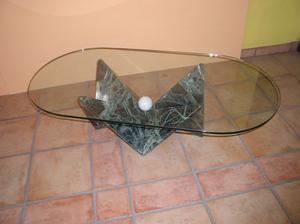 Tavolino in Marmo Verde Alpi finemente Lucidato con Sferetta