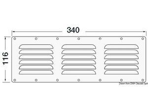 Griglia areazione inox 116 x 340 mm