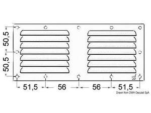 Griglia areazione inox 128 x 232 mm