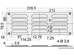 Griglia areazione inox 76 x 229 mm