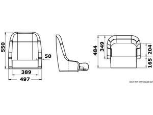 Sedile imbottito rivestito con flip up H51 RAL