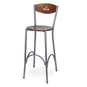 Sgabello in metallo con schienale in legno e seduta