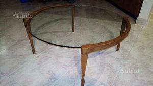 Vendo tavolino da soggiorno in legno massello e vetro