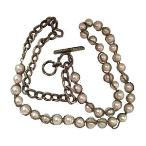 lanvin long necklace 41 white pearls caged in a silver metal