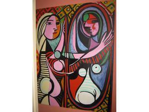 """Dipinto ad olio su tela,"""" donna allo specchio """"."""