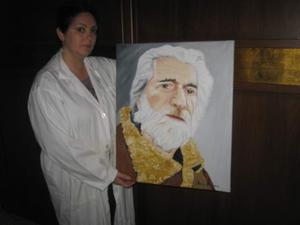 Regala un ritratto dipinto ad olio su tela.