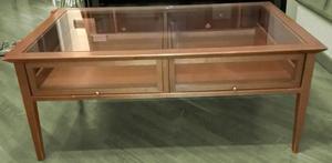 Mobiletto da sala in ciliegio e vetro con 2 cassetti stato