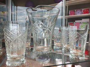 Set 6 bicchieri in cristallo vintage con caraffa