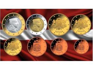 EURO LETTONIA pz., Serie Completa FdC
