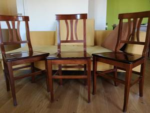 3 sedie in legno di ciliegio massiccio