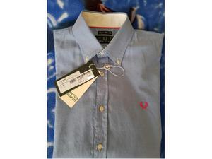 Camicia nuova marca Fred Perry taglia L celeste logo rosso