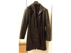 Cappotto nero in vera pelle tg 44