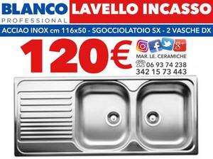 LAVELLO INCASSO BLANCO 120 euro - Acciaio Inox 116x50 - 2