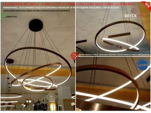 Lampadario anelli da 3 anelli o a 2 anelli led luce bianca