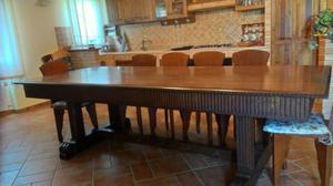 tavolo rustico con 12 sedie legno massello