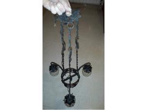 Lampadario ferro battuto nero