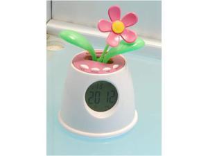 Orologio sveglia digitale a forma di fiore con foglie verde