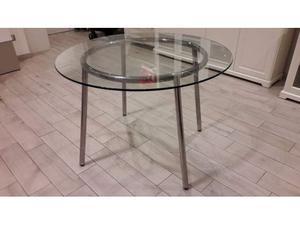 Tavolo salmi vetro nero con 8 sedie posot class - Tavolo rotondo vetro ikea ...