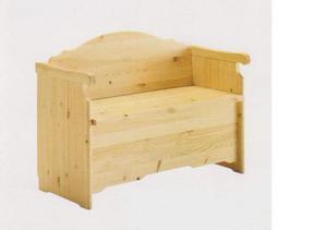 Cassapanca con schienale e braccioli in legno di pino