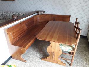 Cassapanca con tavolo in massello di pino