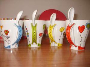Set 4 Mug con cucchiaino in ceramica - NUOVO