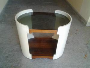 Tavolino da centro in legno e vetro anni 70.