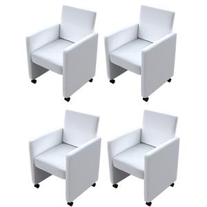 vidaXL 4 pz Set Sedie da Pranzo in Pelle Artificiale Bianca