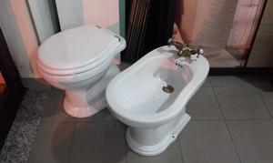 SANITARI A TERRA IN STILE REGENT WC+SEDILE +BIDET BIANCHI