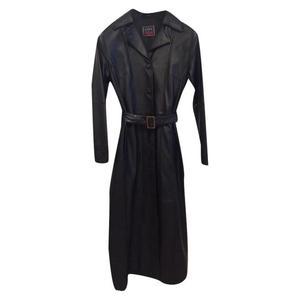 cappotto lungo in pelle nero