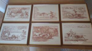 Set di 6 quadri con cornice in legno