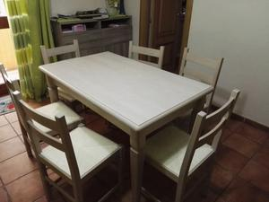Tavolo + 6 sedie legno rovere sbiancato