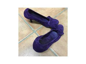 Scarpina scamosciata viola con bordo elasticizzato