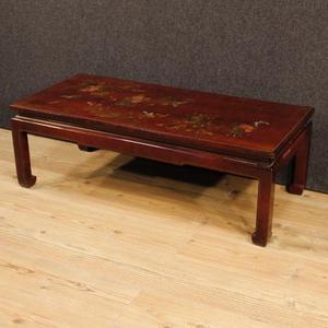 Tavolino francese in legno dipinto e laccato a cineseria
