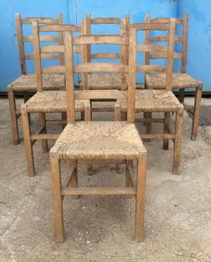 sedie 6 legno e paglia