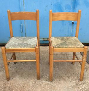 sedie n2 legno e paglia