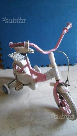 Bici rosa bambina 2-4 anni con rotelle