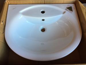 Ceramica dolomite novella lavabo semincasso 65x52,5 bianco