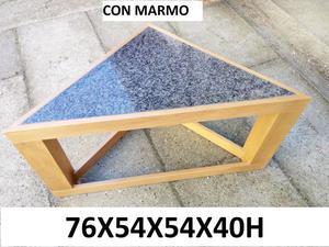 Tavolinetto ad angolo in legno e marmo 76x54x54x40h