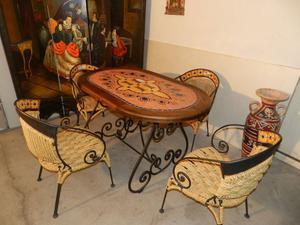 Tavolo masaico in ferro battuto ceramica e legno con 4 sedie