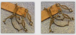N° 6 antiche maniglie in ottone lavorato con viti in ferro