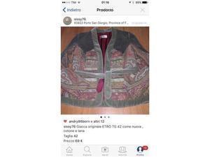 Giacca originale ETRO TG 42 come nuova, cotone e lana