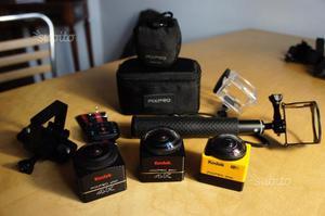 3 Kodak PixPro SPk VR video + accessori