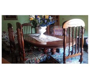Mobile in Noce con tavolo ovale + 6 sedie