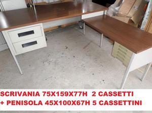 Scrivania Vintage Usata : Scrivania usata piano formica 6 cassetti posot class