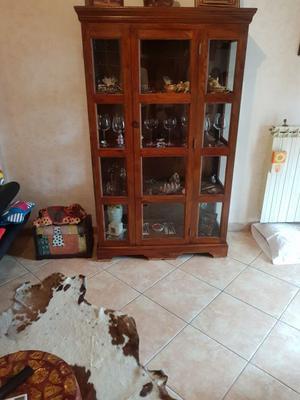Vendo vetrina etnico/arte povera in legno massello