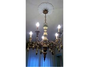 Set lampada a sospensione + 2 applique in legno dipinto
